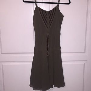 Triton ribbon trimmed brown dress